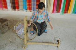 Woman prepare cotton fibers Stock Photography