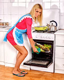Woman prepare fish in oven Royalty Free Stock Images