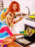 Woman prepare fish in oven. Royalty Free Stock Image