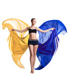 Woman prepare for fitness and flying fabric Stock Photos