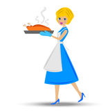 Woman prepare  fried chicken. Vector illustration Stock Photos