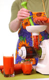 Woman prepare Juice extractor and carrot Royalty Free Stock Image
