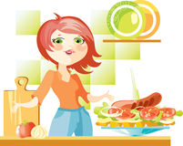Woman prepare sandwich Stock Photos