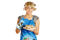 Woman prepared cookies for Xmas Stock Image