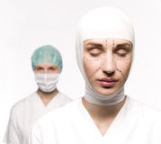 Woman prepared for plastic surgery Stock Photos