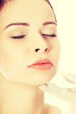 Woman is prepared to have face plastic surgery. Stock Photos