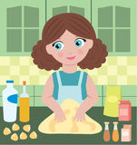 Woman prepares dough Stock Photo