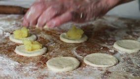 Woman Prepares Dough for Dumplings at Home Kitchen stock video