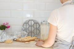 Woman prepares dumpling Stock Photography