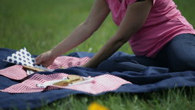 Woman prepares napkins and plates for a meal on the blanket. Female preparing everything for a picnic on the blue blanket stock video footage