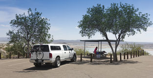 A Woman Prepares a Picnic at Elephant Butte Lake Stock Image