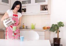 Woman preparing coffee Stock Photo