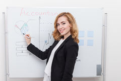 Woman preparing for conference Stock Photo