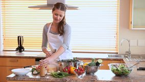Woman preparing the dinner stock footage