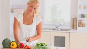 Woman preparing dinner stock footage