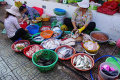 Woman preparing fish  in Saigon Royalty Free Stock Images
