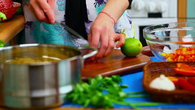 Woman preparing food stock video footage