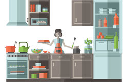 Woman preparing food in the kitchen. Furniture, cooking utensils and appliances. Flat style vector illustration. Stock Photo