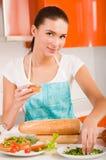 Woman preparing fresh healthy sandwiches Royalty Free Stock Photos