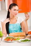 Woman preparing fresh healthy sandwiches in h Royalty Free Stock Photo