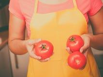 Woman preparing fresh vegetables food salad Stock Image
