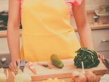 Woman preparing fresh vegetables food salad Stock Photos