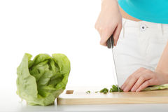 Woman preparing healthy food Stock Photography