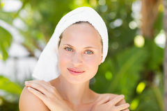 A woman preparing herself for spa day Royalty Free Stock Photography
