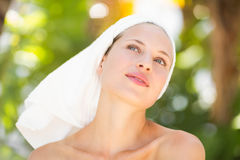 A woman preparing herself for spa day Stock Photos