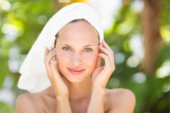A woman preparing herself for spa day Royalty Free Stock Image
