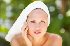 A woman preparing herself for spa day Royalty Free Stock Images