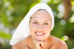 A woman preparing herself for spa day Stock Image