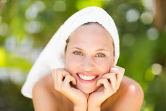 A woman preparing herself for spa day Royalty Free Stock Photo