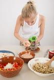 Woman preparing ingredients Royalty Free Stock Photography