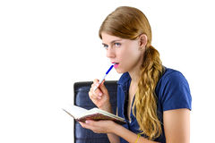 Woman preparing a list Royalty Free Stock Photo