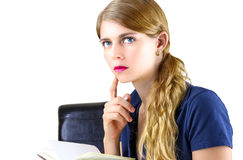 Woman preparing a list Royalty Free Stock Image