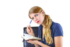 Woman preparing a list Stock Photography