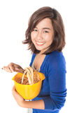 Woman preparing pasta on white background. Royalty Free Stock Photo