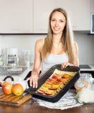 Woman preparing pie Stock Photos