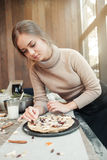 Woman preparing pie with love Stock Image
