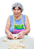 The woman preparing pies Royalty Free Stock Photography
