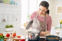 Woman is preparing proper meal stock images