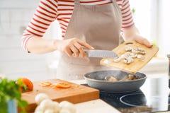 Woman is preparing proper meal stock image