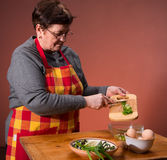 Woman preparing salad Royalty Free Stock Image