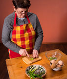 Woman preparing salad Stock Photo