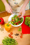 Woman preparing salad with tomatoes, pepper and avocado on the r Royalty Free Stock Photos