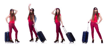 The woman preparing for summer vacation Stock Photos