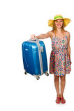 The woman preparing for summer vacation on white Royalty Free Stock Image