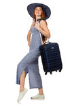 The woman preparing for summer vacation on white Royalty Free Stock Photo