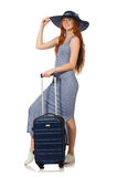The woman preparing for summer vacation on white Stock Image